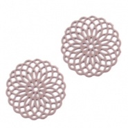 Bohemian charms 15mm round Taupe