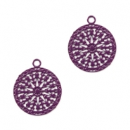 Bohemian charms round with eye 12mm Aubergine Purple