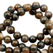 Shell beads round 6mm Multicolour Brown-Grey