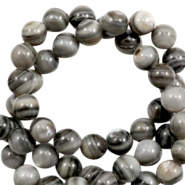 Shell beads round 4mm Multicolour Grey