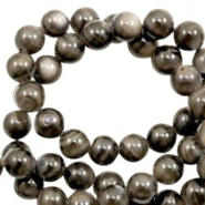 Shell beads round 4mm Multicolour Dark Brown-Grey