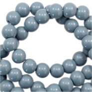 6 mm glass beads opaque Airforce Blue