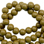 6 mm glass beads opaque Dark Olive Green