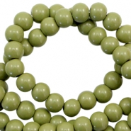 6 mm glass beads opaque Olive Green