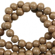 6 mm glass beads opaque Dark Taupe Brown