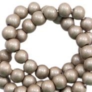 6 mm glass beads opaque Metallic Champagne