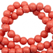 6 mm glass beads opaque Dusty Red-Orange