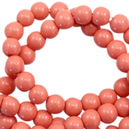 6 mm glass beads opaque Coral Rose Peach