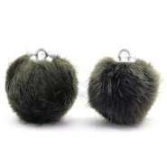 Faux fur pompom charms 16mm Dark Olive Green
