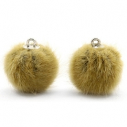 Faux fur pompom charms 16mm Light Olive Green