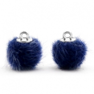 Faux fur pompom charms 12mm Dark Blue