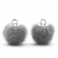 Faux fur pompom charms 12mm Grey