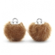 Faux fur pompom charms 12mm Vintage Golden Brown