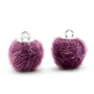 Faux fur pompom charms 12mm Violet Purple