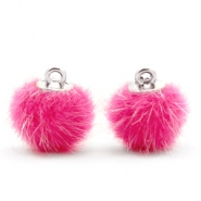 Faux fur pompom charms 12mm Magenta Pink
