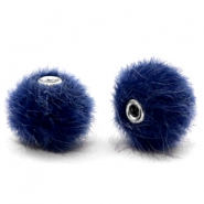 Faux fur pompom beads 12mm Dark Blue