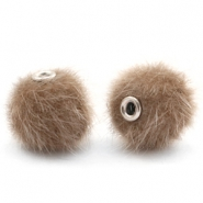 Faux fur pompom beads 12mm Timeless Taupe