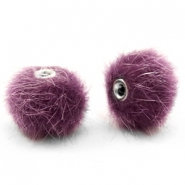 Faux fur pompom beads 12mm Violet Purple