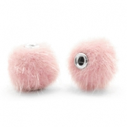Faux fur pompom beads 12mm Light Pink