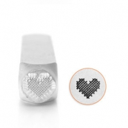 ImpressArt design stamps patchwork heart 6mm Silver