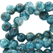 8 mm glass beads gold line Deep Teal Green-White
