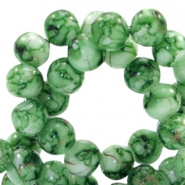 4 mm glass beads gold line Classic Green-White