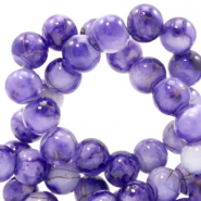 6 mm glass beads gold line Purple-White
