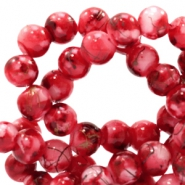 6 mm glass beads gold line Ruby Red-White