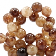 8 mm natural stone beads round Jade Multicolour Natural Brown
