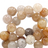 8 mm natural stone beads round Jade Mixed Natural Grey-Brown