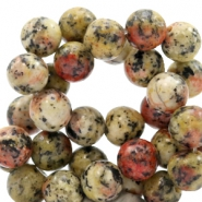 8 mm natural stone beads round Jade Mixed Natural Red-Yellow