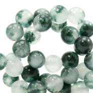 8 mm natural stone beads round Jade Mixed White-Green