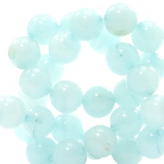 8 mm natural stone beads round Light Haze Blue