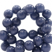 8 mm natural stone beads round Jade Denim Blue