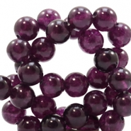 8 mm natural stone beads round Jade Dark Aubergine Purple
