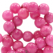 8 mm natural stone beads round Jade Hot Pink