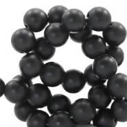 6 mm natural stone beads round Jade Matt Black