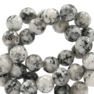 6 mm natural stone beads round Jade Black-White