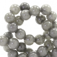 6 mm natural stone beads round Jade Olive Grey