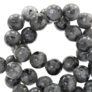 6 mm natural stone beads round Anthracite Grey