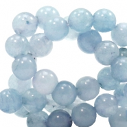 6 mm natural stone beads round Fog Blue