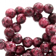 6 mm natural stone beads round Multicolour Light Port Red