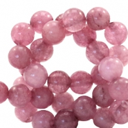 6 mm natural stone beads round Dark Autumn Rose