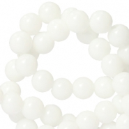 6 mm natural stone beads round White