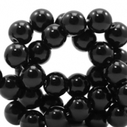 4 mm natural stone beads round Black