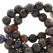 4 mm natural stone beads round Anthracite-Dark Brown