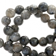4 mm natural stone beads round Multicolour Dark Grey