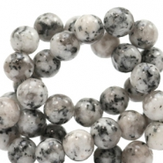 4 mm natural stone beads round Mixed Natural Grey-Beige