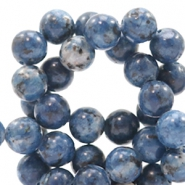 4 mm natural stone beads round Mixed Denim Blue