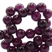 4 mm natural stone beads round Dark Aubergine Purple